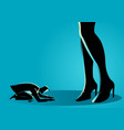 businessman prostrated under female high heels vector image vector image