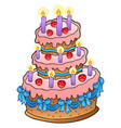 cake with candles and ribbons vector image vector image