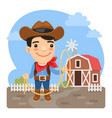 cartoon cowboy on farm vector image vector image