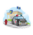 cartoon police car in front police office vector image
