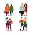 casual couple people set isolated on white vector image