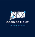 connecticut technology connection geometric vector image