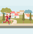 couple jogging and running outdoors in vector image