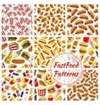 Fast food seamless patterns set vector image