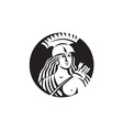 Female Spartan Warrior Circle Black and White vector image vector image