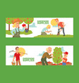 gardening supplies set banners vector image vector image