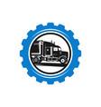 gear logo design and truck repair vector image