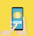gold coin and donate button on smartphone screen vector image vector image