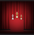 gold silver bronze trophy on a stage with curtain vector image vector image