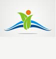 green leaf abstract beauty company logo vector image vector image