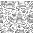 hand drawn pattern with birthday elements vector image vector image