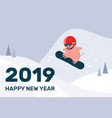 happy chinese new year cartoon pig on snowboard vector image vector image