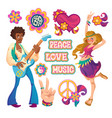 hippie people signs peace love and music vector image vector image