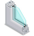 Home clear glass window cross section Frame vector image vector image
