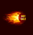 hot sale offer on fire background vector image vector image