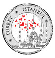 I Love Istanbul Design stamp with heart The Blue vector image vector image
