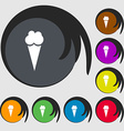 Ice Cream icon sign Symbols on eight colored vector image vector image