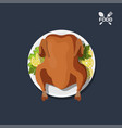 icon of roasted chicken on plate vector image vector image