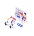 isometric 3d teamwork building and do layout new vector image
