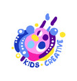kids creative logo design colorful labels and vector image vector image