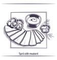 lard with mustard black vector image vector image
