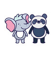 little panda and elephant cartoon character on vector image