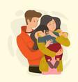 mom and dad hugging their son vector image vector image