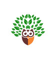owl leaves green logo icon vector image vector image