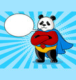panda superhero pop art vector image