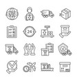 parcel dellivery icon set outline style vector image