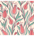 Pattern with pink tulips vector image vector image