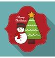Pine tree and snowman of Christmas season design vector image