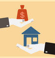 real estate concept hands with house and money vector image vector image