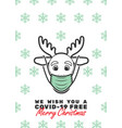 reindeer with mask and we wish you a covid-19 vector image vector image