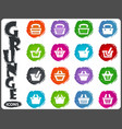 shopping bascket icons set in grunge style vector image vector image