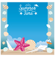 Summer Beach with Sea Shell and Starfish Frame vector image vector image