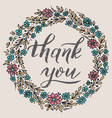 thank you card with floral background artwork vector image