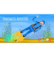 underwater diving sport banner poster templates vector image