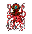 vintage diver helmet with octopus tentacles vector image