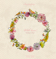 vintage wreath with cute birds and flowers vector image vector image