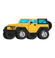 yellow car suv icon flat travel tourist vector image