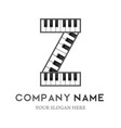 z letter logo design piano keyboard logo vector image