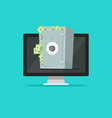 computer with safe box full of paper money vector image