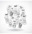 Mobile phones group happy communication people vector image
