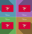 Flags Isle of man Set colors flat design and long vector image