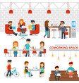 coworking space infographic elements flat vector image
