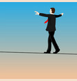 isolated businessmen walking tightrope- vector image