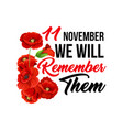 11 november poppy remembrance day icons vector image vector image