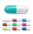 3d realistic pills set colored painkiller vector image