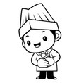 black and white funny chef mascot is a polite vector image vector image